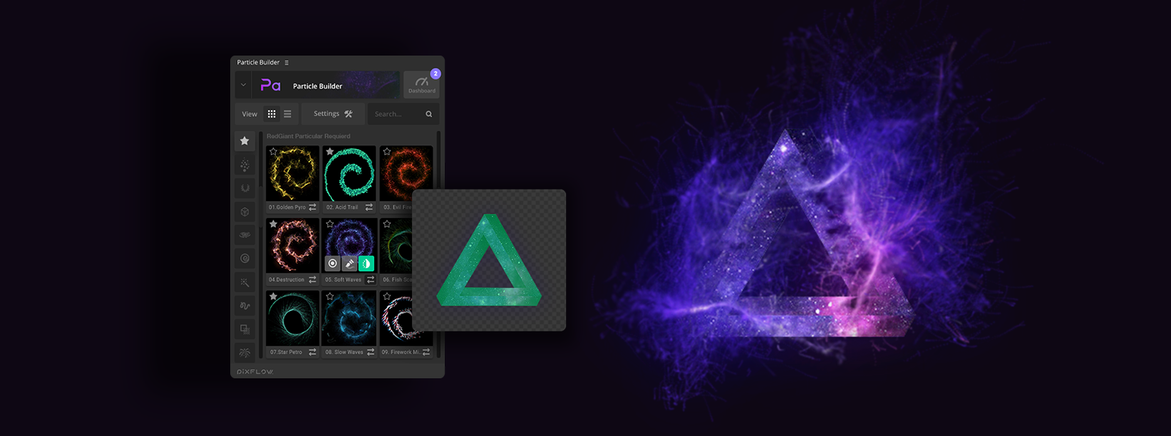 Particle Builder | Magical Pack: Apply particles onto layers with transparent channels.