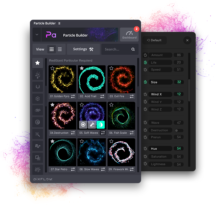 Particle Builder | Magical Pack: Magic Awards Abstract Particular Presets - Settings UI