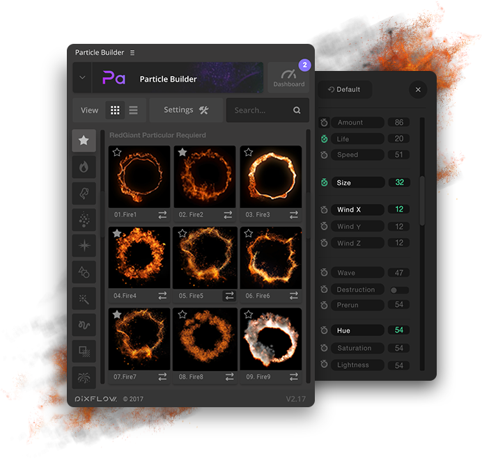 Particle Builder | Elemental Pack: Fire Sand Smoke Sparkle Particular Presets - Settings UI