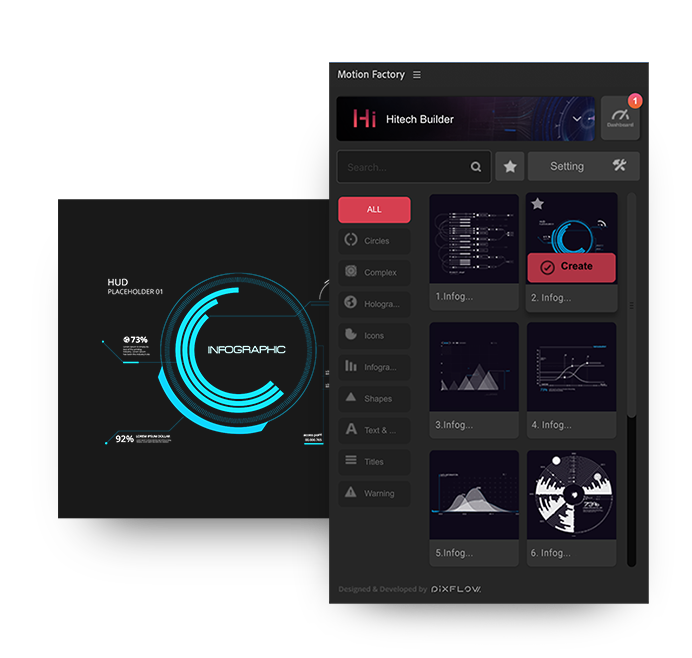after effects high tech hud infographic settings