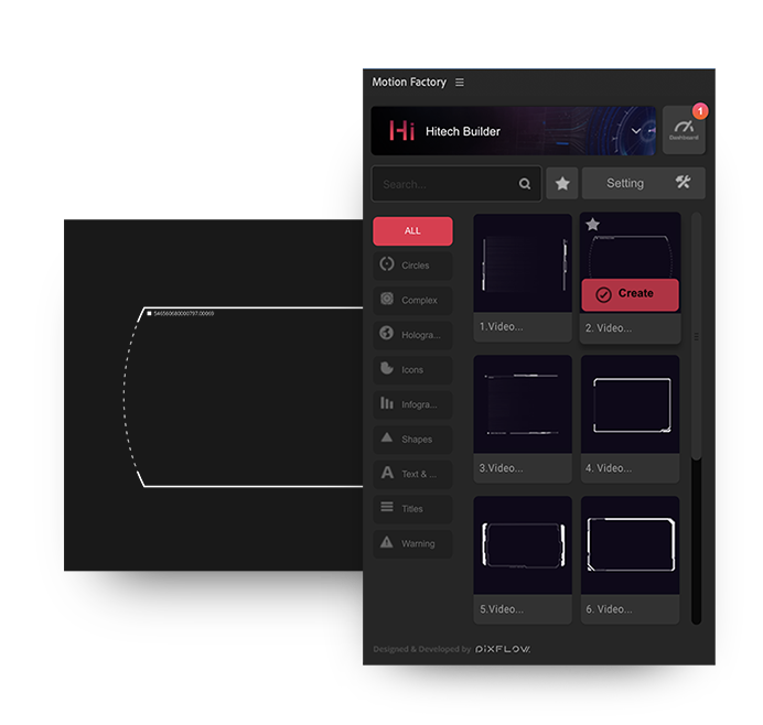 after effects high tech hud screen frame settings