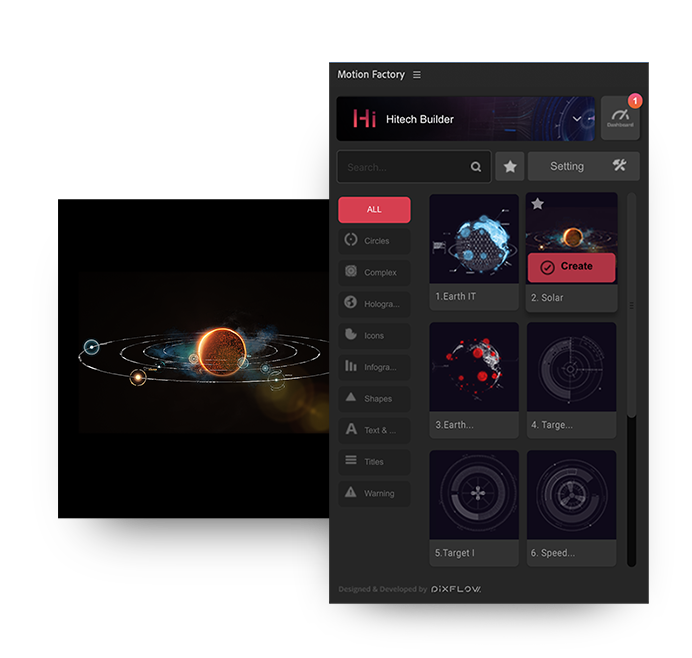 after effects high tech hud solar system