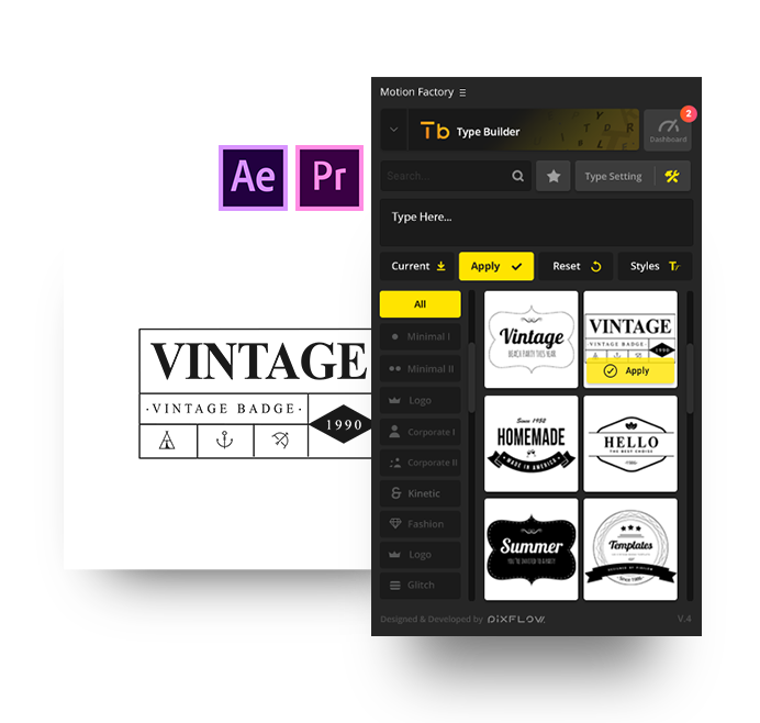 after effects vintage badge and retro titles