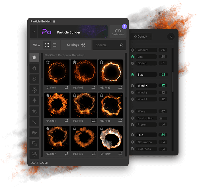 fx particle builder fire particular presets