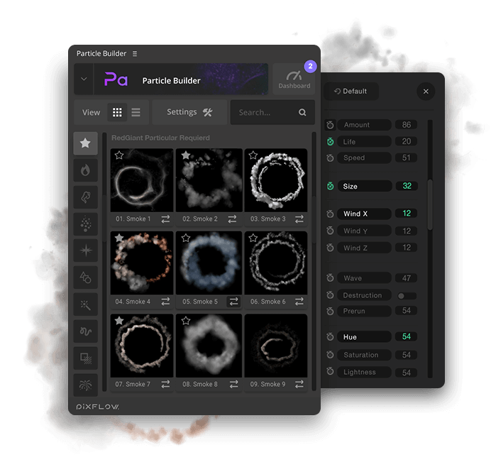fx particle builder smoke particular presets Settings UI