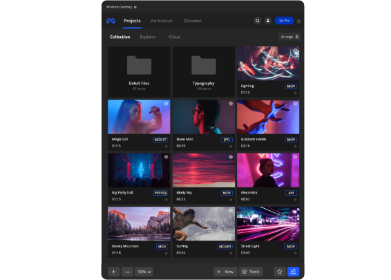Motion Factory is a free toolkit that supports all video & graphics file types.