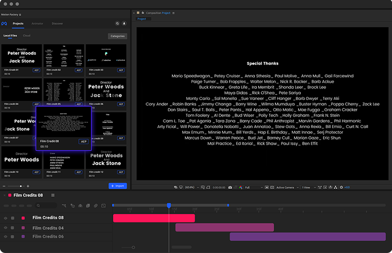 Film credits in After Effects