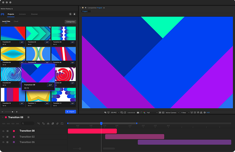 after effects & premiere Transitions